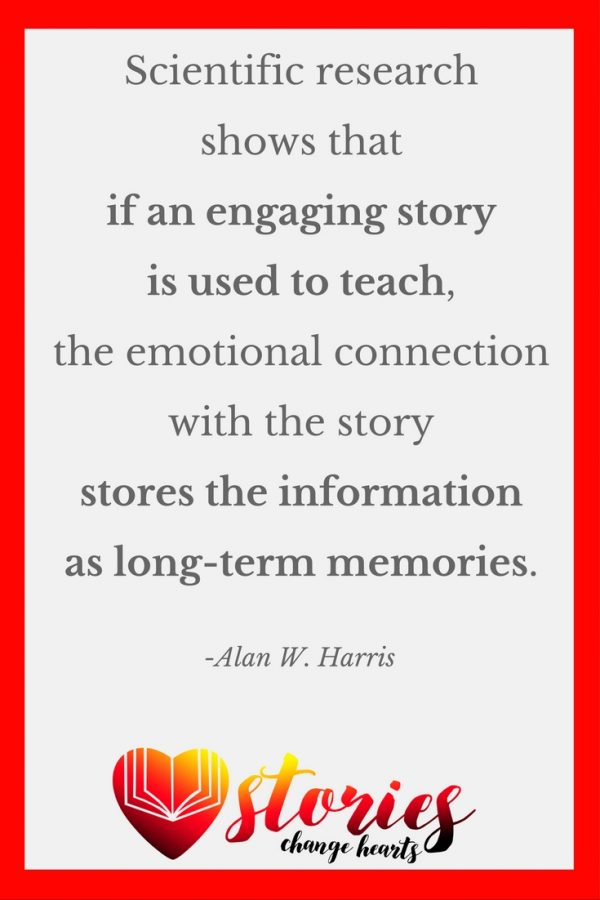Scientific research has shown that if an exciting or engaging story is used to teach, instead of the story going to the short-term memory in the cortex, the emotional connection with the story causes the amygdala to override the cortex and takes the story and any information associated with it and stores them in the hippocampus as long-term memories. (Alan W. Harris)