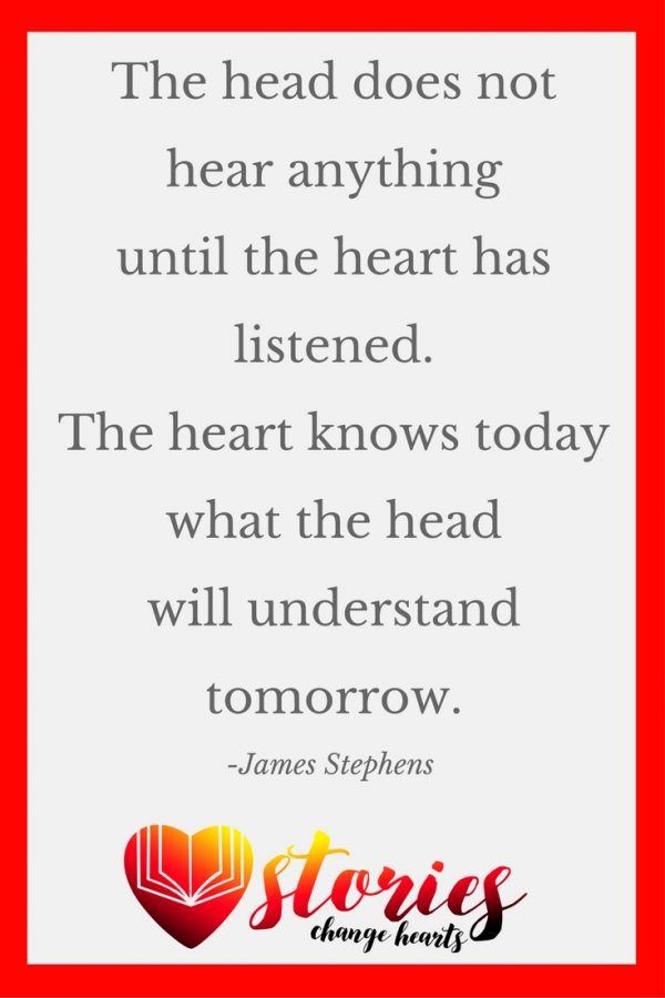 The head does not hear anything until the heart has listened. The heart knows today what the head will understand tomorrow. (James Stephens)